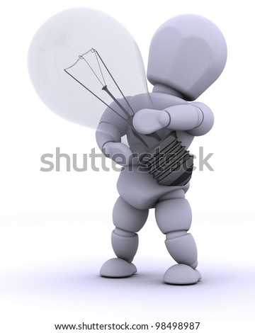 3D render of man with light bulb