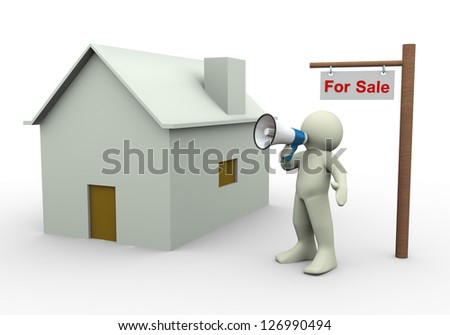 3d render of man with megaphone announcing house for sale. - stock photo