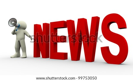 3d render of man with megaphone news announcement - stock photo