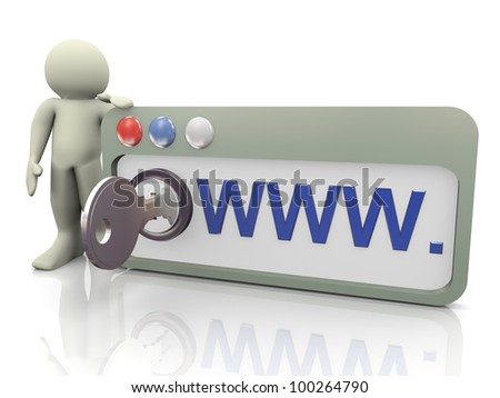 3d render of man with protected browser. Concept of secure and safer internet browsing.