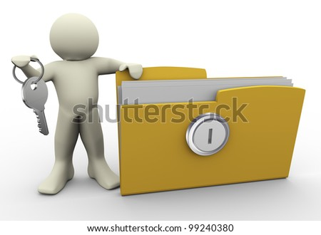 3d render of man with protected folder holding key in his hand. Illustration of human character. - stock photo