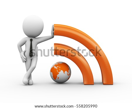 3d render of man with rss sign symbol globe icon. Human character 3d illustration.