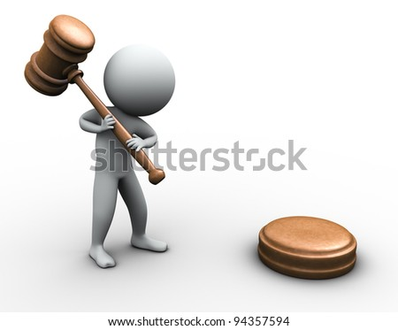 3d render of man with wood gavel - stock photo