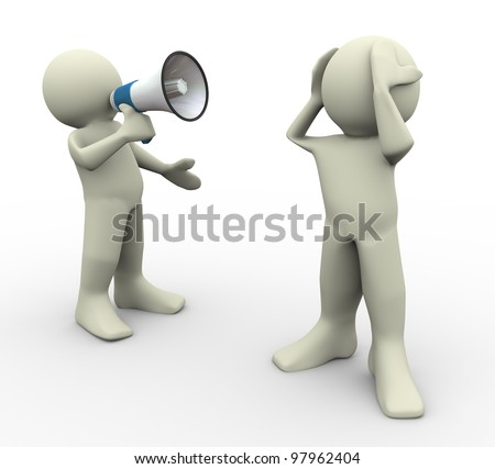 3d render of man yelling with megaphone - stock photo