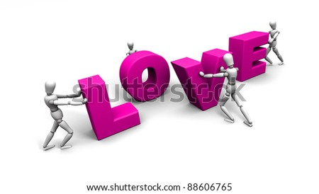 3D render of mannequins pushing pink letters together to spell LOVE. - stock photo