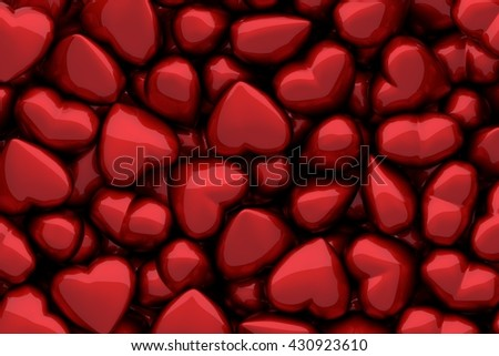 3D render of many dark red glossy hearts as background - stock photo