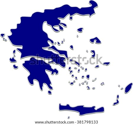 3D render of map of European country Greece in blue color.