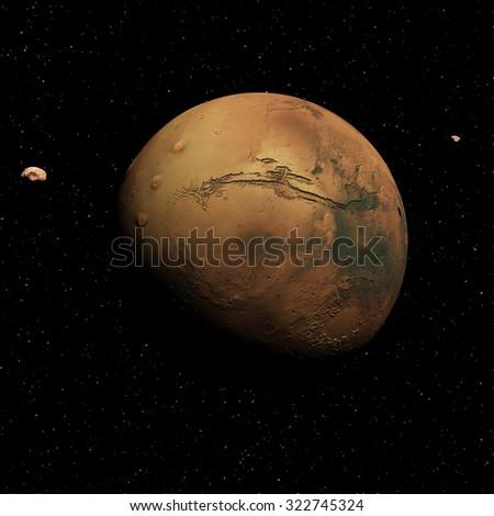 3d render of Mars , Phobos and Deimos - stock photo