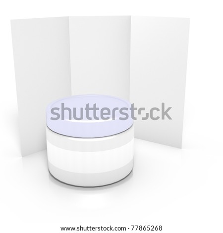 3d render of medicine container with leaflet, isolated on white background - stock photo