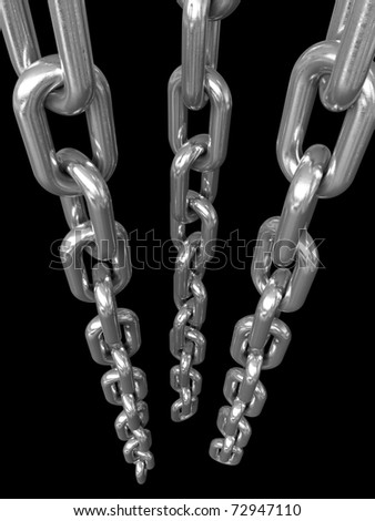 3d render of metal chains over black background