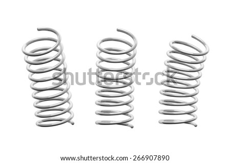 3d render of metal spring isolated on white background - stock photo