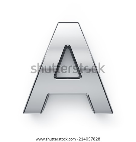 3d render of metallic alphabet letter symbol - A. Isolated on white background - stock photo