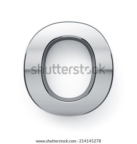 3d render of metallic alphabet letter symbol - O. Isolated on white background - stock photo