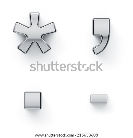3d render of metallic alphabet punctuation letter symbols. Isolated on white background  - stock photo