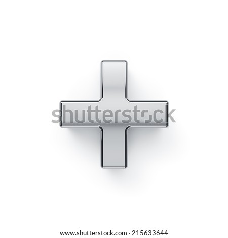 3d render of metallic arithmetic plus symbol. Isolated on white background  - stock photo