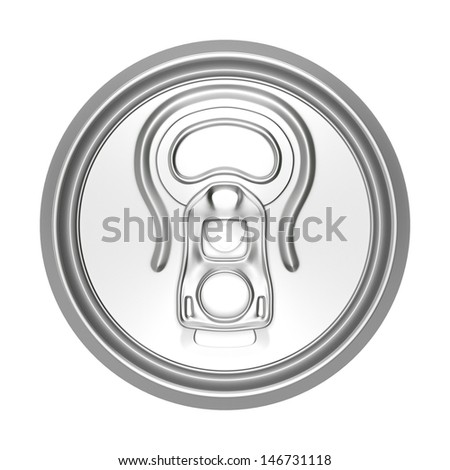 3d render of metallic can lid from top isolated on white - stock photo