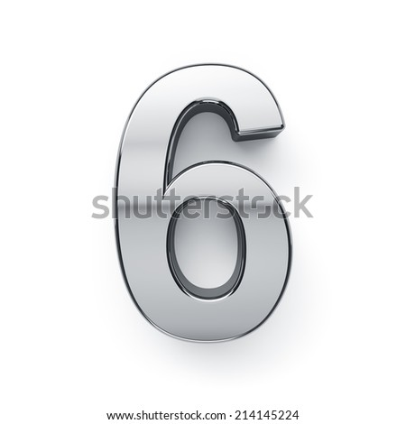 3d render of metallic digit six symbol - 6. Isolated on white background - stock photo