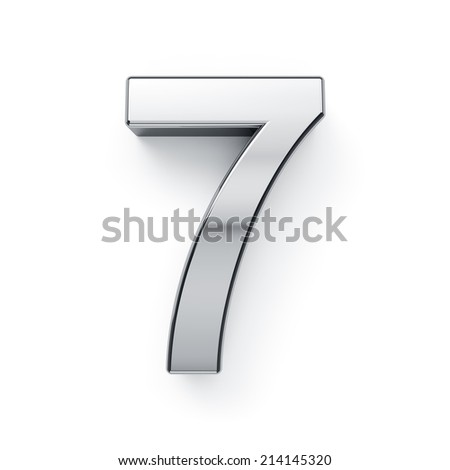 3d render of metallic digit symbol - 7. Isolated on white background - stock photo