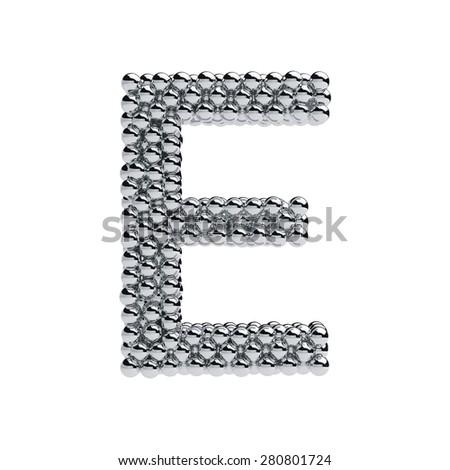 3d render of metallic spheres alphabet letter symbol - E. Isolated on white background - stock photo