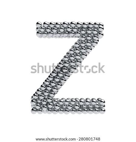 3d render of metallic spheres alphabet letter symbol - Z. Isolated on white background - stock photo