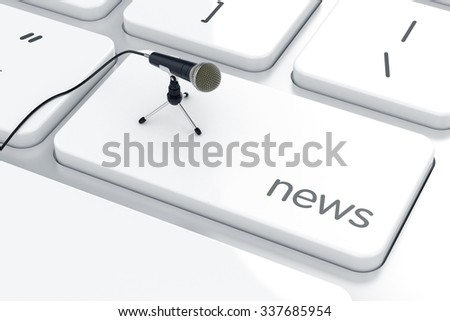 3d render of microphone on the keyboard. News concept  - stock photo