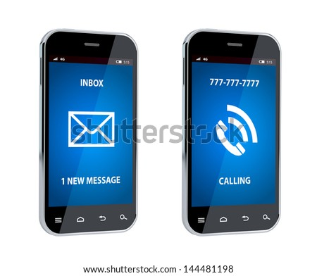 3d render of mobile phone with call and message sign - stock photo