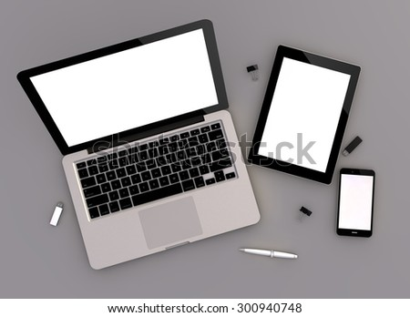 3d render of mock-up with laptop computer, tablet pc and touchscreen smartphone. Zenith view. - stock photo