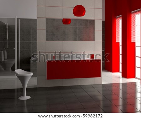 3d render of modern bathroom with white and black tiles on wall - stock photo