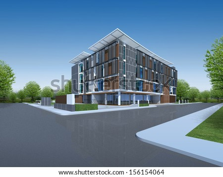 3D render of modern building - stock photo