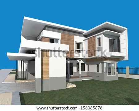 3D render of modern building with blue background - stock photo