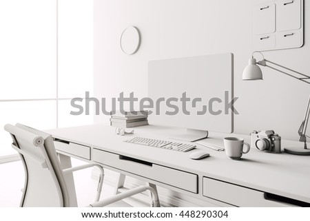 3d render of modern computer workplace setup  - stock photo