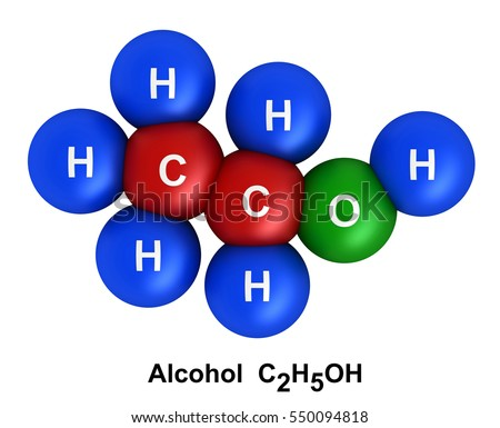 3d render of molecular structure of alcohol isolated over white  Atoms are represented as spheres with color and chemical symbol coding: hydrogen(H) - blue, oxygen(O) - green, carbon(C) - red