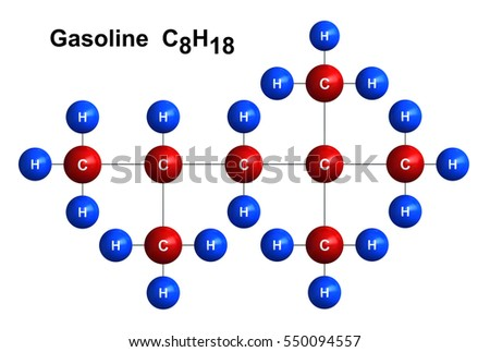 3d render of molecular structure of gasoline isolated over white background