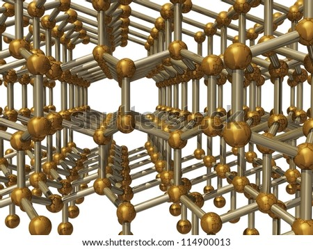 3d render of molecular structure of lonsdaleite
