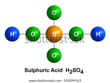 3d render of molecular structure of sulfuric acid isolated over white background and color coding: hydrogen(H) - blue, oxygen(O) - green, sulfur(S) - orange.