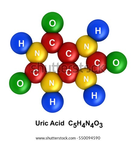 3d render of molecular structure of uric acid isolated over white background and color coding: hydrogen(H) - blue, oxygen(O) - green, nitrogen(N) - yellow, carbon(C) - red.