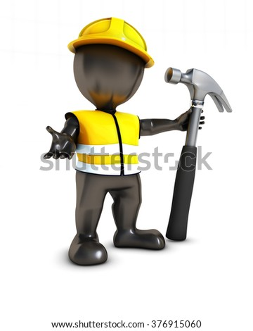 3D Render of Morph Man Builder with hammer