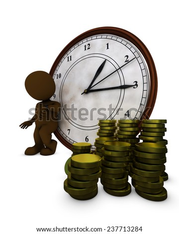 3D Render of Morph Man time is money - stock photo