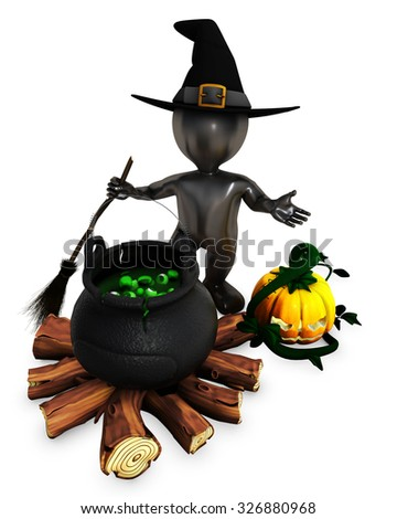 3D Render of Morph Man Witch with pumpkins