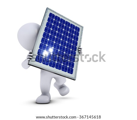 3D Render of Morph Man with solar panel
