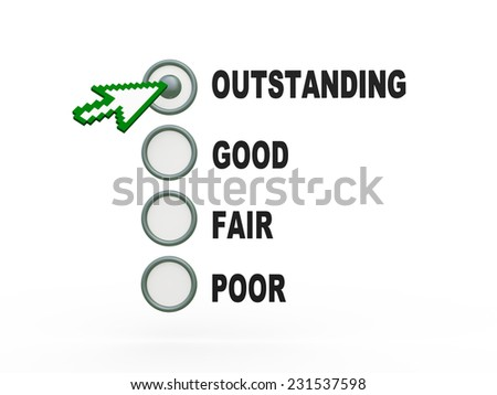 3d render of mouse pointer choosing survey rating option - stock photo