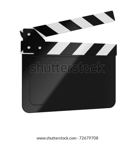 3d render of movie clapper board on white background - stock photo
