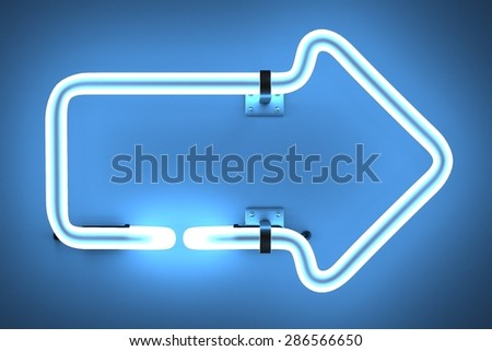 3d render of neon lights - arrow - stock photo