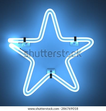3d render of neon lights - star - stock photo