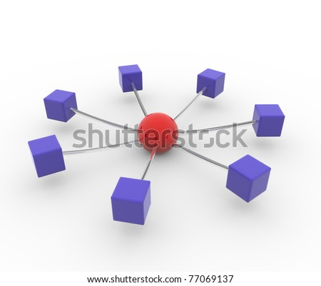 3d render of networking concept