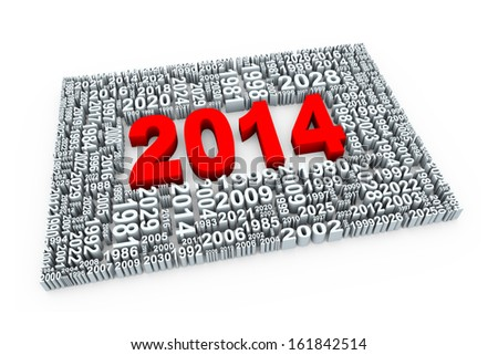 3d render of new year 2014 along with other years numbers. - stock photo