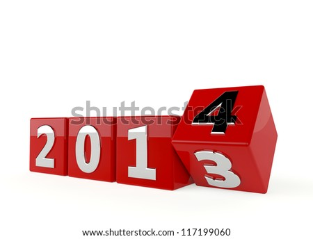 3d render of new year 2014 - 2013 change to 2014 - stock photo