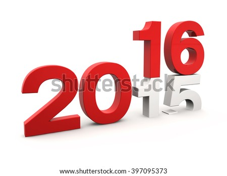3d render of new year 2015 change to 2016