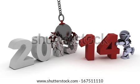 3D render of 2014 new year wrecking ball - stock photo