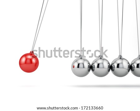 3d render of newton balls isolated on white background - stock photo